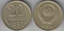 URSS CCCP argent pièces 20 kopeiki Kopek différentes années 1961 - 1989