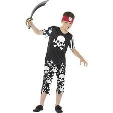 Boys Pirate Costume Black White Skull Print Halloween Costume Kids Child S M L