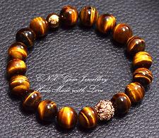 Hand Crafted Crystal Gem Beads Bracelet Gold GP Tiger's Eye Hollywood Inspired