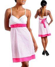 New Spaghetti Strap Dress White Pink Polka Dots S M L
