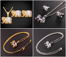 Ohrringe+ Halskette+ Anhänger Elefant Zirkonia Klar 18K Gold / Platin Plated NEU