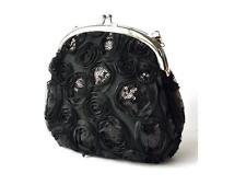Glitter sequin Black  flower LACE evening clutch wedding bridal bag purse wallet