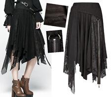 Jupe asymétrique gothique lolita steampunk destroy vintage dentelle zip PunkRave