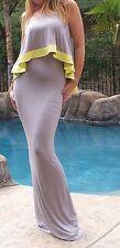 Maya Antonia-TALL-PLUS SIZE-Sexy Strapless Ruffle Maxi Dress Greyw/Yellow trim