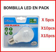 BOMBILLA LED 6W CASQUILLO GRANDE E27 LUZ BLANCA 6400K PACK DE AHOORO DESDE 5 UDS