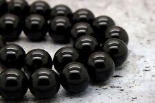 "BLACK TOURMALINE GEMSTONE GRADE AAA ROUND LOOSE BEADS 16"" (4 6 8 10 12mm)"