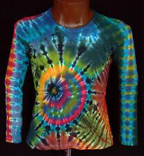 T-SHIRT TG S - 5xl MANICA LUNGA A MANO COLORATI hippie tie dye Batik Flower Power Goa NUOVO