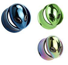 Steel Screw Double Flare Alien Ear Tunnel Plug 8mm - 16mm 3 Colours