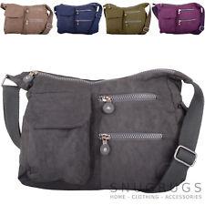 Ladies / Womens Crinkled Nylon Cross Body / Shoulder / 'Small Messenger' Bag