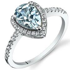 14K White Gold Aquamarine Open Halo Ring Pear Shape 1.00 Cts Sizes 5 to 9