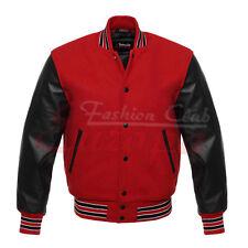 RED/ BLACK Genuine Leather Sleeve Letterman College Varsity Men Wool Jacket