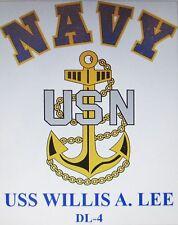 USS WILLIS A. LEE  DL-4* DESTROYER * U.S NAVY W/ ANCHOR* SHIRT