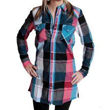 RVLT Revolution Texas Camicia Manica Lunga Blue Red Long shirt tunica BLUSA vestito a quadri