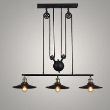 3 Light Industrial Chandelier Pulley Ceiling Pendant Lamp Kitchen Island Fixture