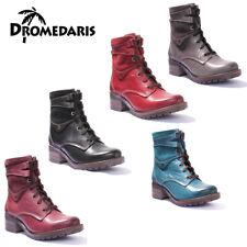 Dromedaris Kara Women Teal Waxy Creased Leather Boots