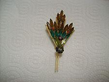 Brooch Fan Design Vintage Amber/Green Oblong Marquise Rhinestone Open Back