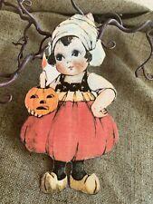 Vintage Repro Dutch Girl JOL Candle Halloween Cardstock Decoration,U Choose Size
