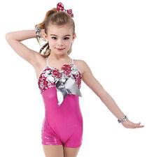 Pink Metallic Acro Jazz Dance Biketard Costume Child XS, CS, 6X7, Adult M