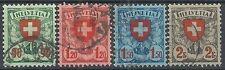 1924 SVIZZERA USATO CROCE E SCUDO 4 VALORI - SZ014