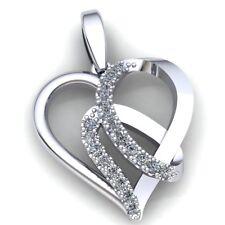 Cross Over Heart Pendant 14K Gold 0.5carat Round Cut Diamond Ladies Twisted