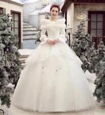 New Womens Korean Wedding Dress Cotton Long-Sleeved Fur Collar Bridal Dress sz
