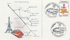 ENVELOPPE_CHEMINOTS PHILATELISTES_TRENI_1982_TGV PARIS SUD EST_MONTPELLIER