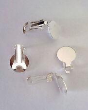 2 CHIUSURE PER ORECCHINI A CLIP ARGENTO PIASTRINA BASE 15 mm nickel free