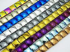 Natural Non-Magnetic Hematite Gemstone Flat Square Beads Metallic Colors 16''