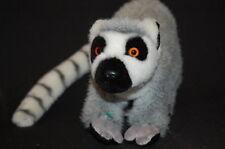"LIFE LIKE RINGTAIL LEMUR BLACK WHITE GRAY MONKEY 9""  Plush Stuffed Animal Lovey"