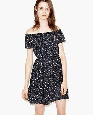 765968867d5f NWT The Kooples Off the Shoulder Silk Dress Tattoo Print Black Size M $385
