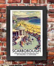TU45 Vintage Scarborough LNER Railway Travel Framed Poster Re-Print A3/A4
