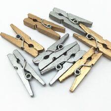 LOT 10/20/40/60/80 MINI PINCE A LINGE EN BOIS 25 mm doré/argent SCRAPBOOKING DIY