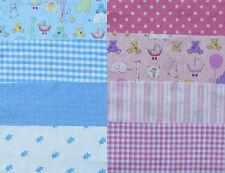Nursery tessuto 20 x 20 cm quadrati, rosa o blu. 8 pezzi. grande VALORE!