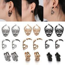 Punk Gothic Skull Stud Earrings Vintage Hollow Skeleton Piercing Jewelry Gifts
