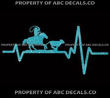 VRS Heart Beat Line COWBOY HAT RODEO Cowgirl Girl Roping Calf CAR METAL DECAL
