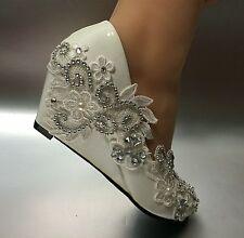 su.cheny 5 cm wedge white ivory lace crystal Wedding Bridal high heels shoes