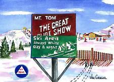 MT TOM SKI AREA ART PRINT Holyoke MA Gift Snow Winter skiing Snowboard Tow