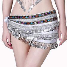 Belly Dancing Costume Hip Scarf Indian Hipscarf Velvet Bead&Coins Belt Fringes #