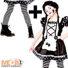 Broken Doll + Tights Girls Fancy Dress Halloween Ragdoll Kids Childs Costume New