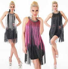 Mega tendance sexy robe MINI AVEC FRANGES FIL COLLIER aspect tressé 34-36 38-40