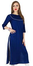 Bimba Blue Cotton Kurta Kurti Casual 3/4 Sleeve Formal Tunic Summer Blouse