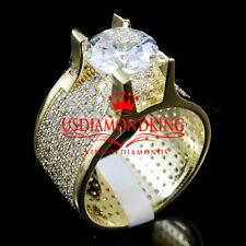 MEN'S LADIES ENGAGMENET BRIDAL 14K YELLOW GOLD FINISH SOLITAIRE PINKY RING BAND