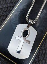 Mens Chunky Silver Egyptian Pharaoh Ankh Key Of Life Cross Tag Pendant Necklace