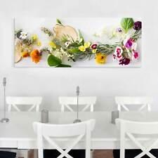 Glasbild Frische Kräuter mit Essblüten Panorama Quer Glas Bild Wandbild Echtglas