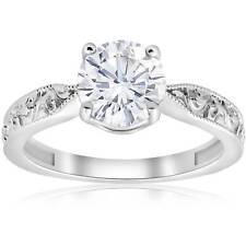 1 1/2ct Solitaire Vintage Diamond Engagement Ring 14K White Gold Enhanced