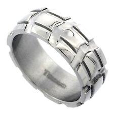 8mm Titanium Wedding Band Ring w/ Truck Tire Deep Carved Pattern, Polish Finish