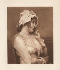ANTIQUE PORTRAIT PRETTY WOMAN MAIDEN WHITE DRESS BONNET SEPIA VICTORIAN PRINT