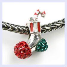 STR Silver Holiday Stocking Candy Cane Crystal Bead f/ European Charm Bracelet