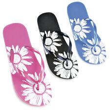 Womens/Ladies Flower Print Flip Flops