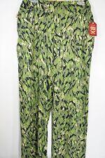 NWT Faded Glory Wide Leg Knit Palazzo Pants Stretch Green Print Pull On Flat NEW